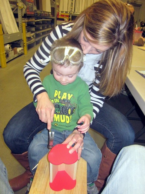 mommy and landon building